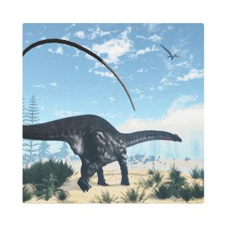Apatosaurus dinosaur in the desert - 3D render Metal Photo Print
