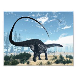 Apatosaurus dinosaur in the desert - 3D render Photo Print