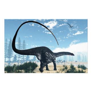 Apatosaurus dinosaur in the desert - 3D render Stationery