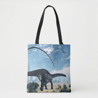 Apatosaurus dinosaur in the desert - 3D render Tote Bag