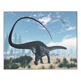 Apatosaurus dinosaur in the desert - 3D render Wood Wall Art