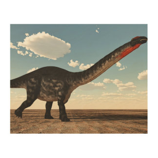 Apatosaurus dinosaur in the desert - 3D render Wood Wall Decor