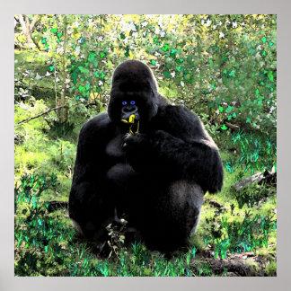 Ape eating banana poster