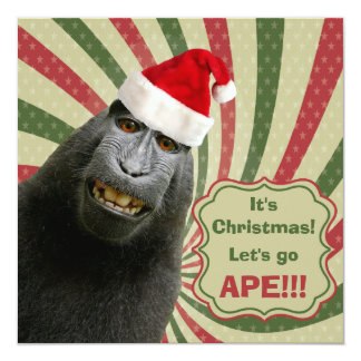Ape in Santa Hat. It's Christmas! Let's Go Ape!! Card