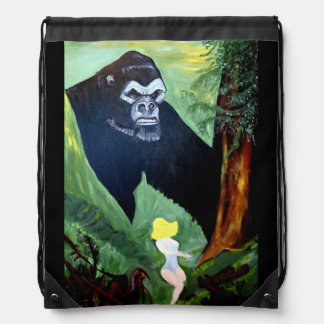 APE IN THE WILD DRAWSTRING BACKPACK