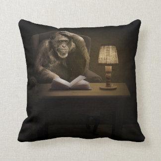 Ape Monkey Book Throw Pillow