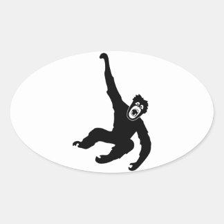 ape monkey chimp gorilla ape crazy orang utan oval stickers