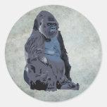 ape or gorilla round sticker