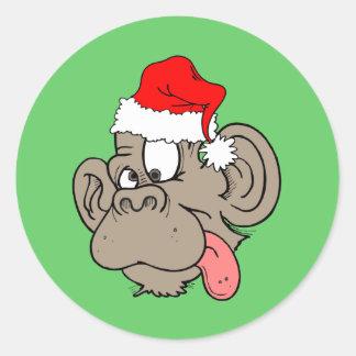 ape Santa Classic Round Sticker