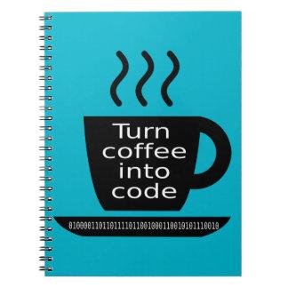 Apego fresco del café del friki del programador cuaderno