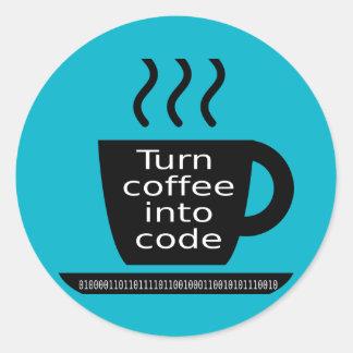 Apego fresco del café del friki del programador pegatina redonda
