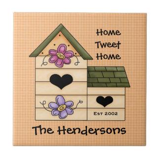Apellido de la casa del pájaro azulejo cuadrado pequeño