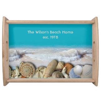 Apellido Est. Seashells tropicales que sirven la Bandejas