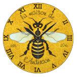 Apellido francés de la abeja del panal de la abeja reloj redondo grande
