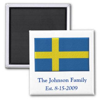 Apellido y fecha suecos de la bandera imán cuadrado