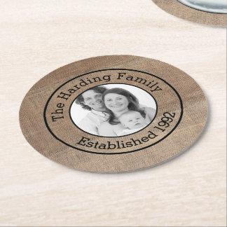 Apellido y foto de la familia personalizados posavasos desechable redondo