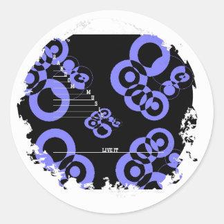 Apenado alrededor de los pegatinas etiquetas redondas
