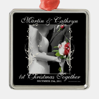 Apenas 1r año casado del personalizado del navidad adorno cuadrado plateado
