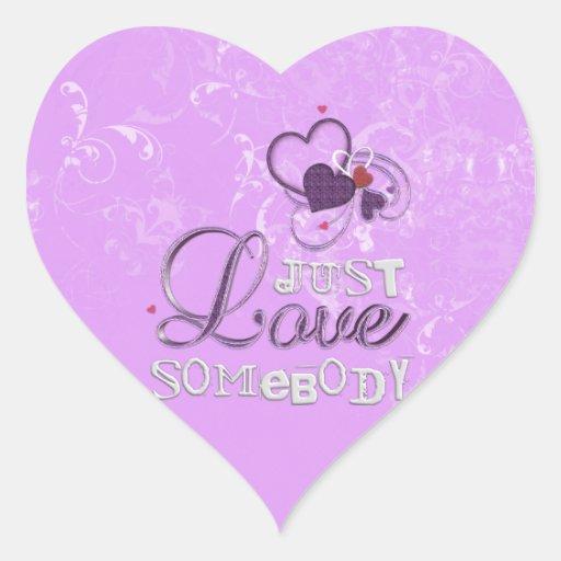 Apenas amor alguien calcomanías corazones personalizadas