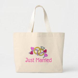 Apenas anillos de bodas casados bolsa tela grande