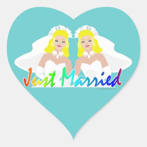 Apenas boda lesbiano casado pegatina corazon