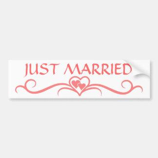 Apenas boda rosado casado del Flourish de la volut Etiqueta De Parachoque