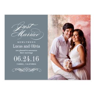 Apenas casado casando gris de pizarra de las invit tarjeta postal