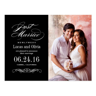 Apenas casado casando invitaciones el   negro y bl postal