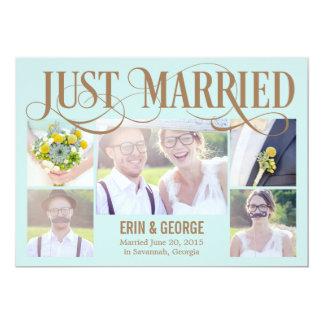 Apenas casado casando la invitación - azul