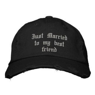 Apenas casado con mi gorra gótico del boda del mej gorra bordada