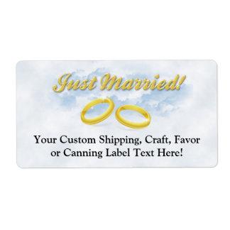 Apenas casado, el oro dos congriega/se nubla etiqueta de envío