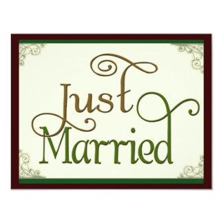 Apenas casado en fuente de la diversión del invitación 10,8 x 13,9 cm