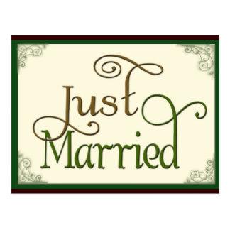 Apenas casado en fuente de la diversión del postales