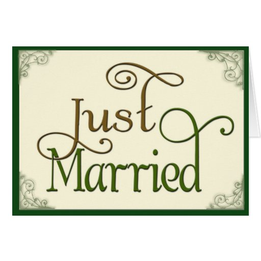 Apenas casado en fuente de la diversión del tarjeta de felicitación