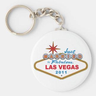 Apenas casado en Las Vegas fabuloso 2011 Llavero Redondo Tipo Pin