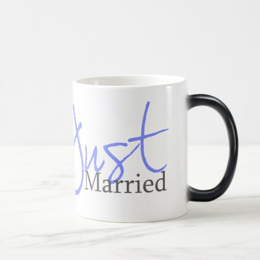 Apenas casado (escritura azul) taza mágica