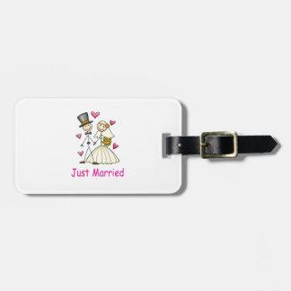 Apenas casado etiquetas bolsas