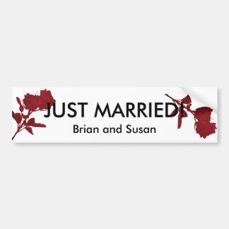 ¡Apenas casado! Plantilla de la pegatina para el p Etiqueta De Parachoque