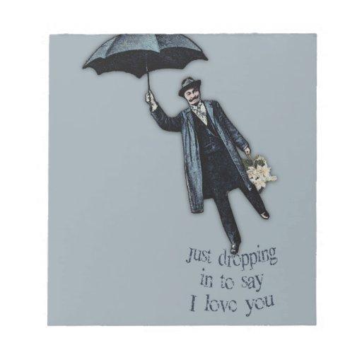 Apenas cayendo en tarjeta del día de San Valentín Bloc De Papel
