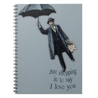 Apenas cayendo en tarjeta del día de San Valentín Notebook