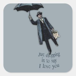 Apenas cayendo en tarjeta del día de San Valentín Pegatina Cuadrada