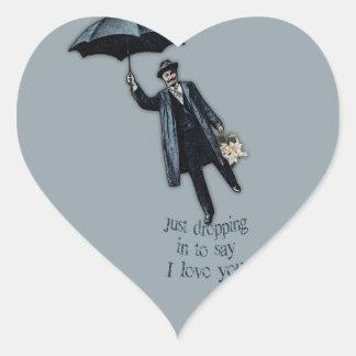Apenas cayendo en tarjeta del día de San Valentín Pegatina En Forma De Corazón