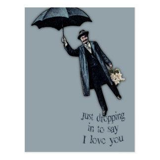 Apenas cayendo en tarjeta del día de San Valentín Postal