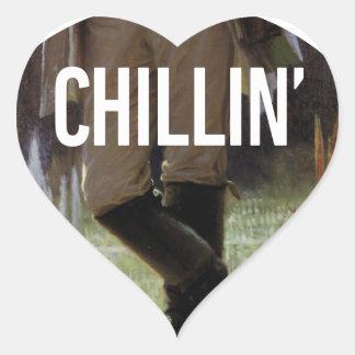 Apenas Chillin en el prado - subtítulo del arte de Pegatina En Forma De Corazón