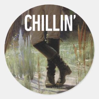Apenas Chillin en el prado - subtítulo del arte de Pegatina Redonda