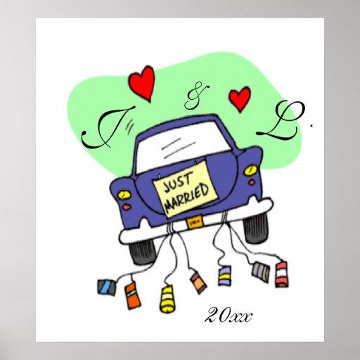 Apenas coche casado póster