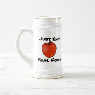 Apenas coma la comida real jarra de cerveza