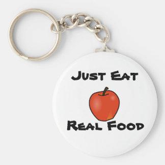 Apenas coma la comida real llavero redondo tipo pin
