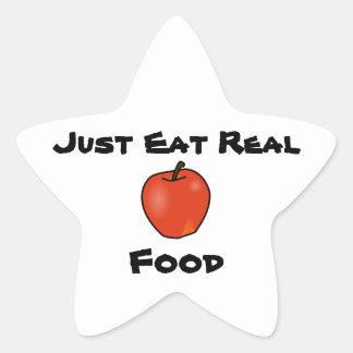 Apenas coma la comida real pegatina en forma de estrella