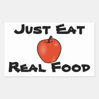 Apenas coma la comida real pegatina rectangular